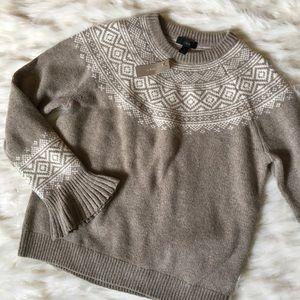 J. Crew Fairisle Ruffle Sleeve Sweater